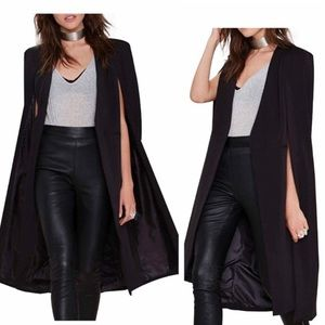 Haoduoyi Black Caped Duster Length Vest Size 10